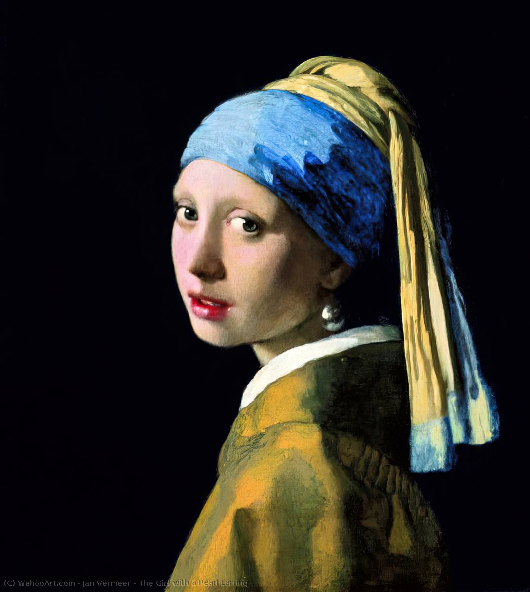 The Girl with a Pearl Earring, 1665 by Jan Vermeer (1632-1675, Netherlands) | Art Reproduction | WahooArt.com