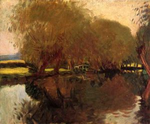 John Singer Sargent - A Backwater at Calcot Near Reading - (paintings reproductions)