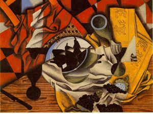Juan Gris - Pears and grapes on a table - (Buy fine Art Reproductions)
