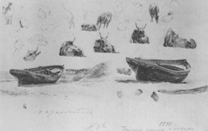 Konstantin Fyodorovich Bogaevsky - Study of boats and cows