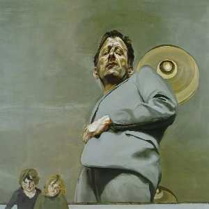 Lucian Freud - Reflection with Two Children (Self-Portrait) - (paintings reproductions)