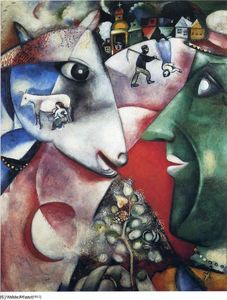 Marc Chagall - I and the Village - (Famous paintings reproduction)