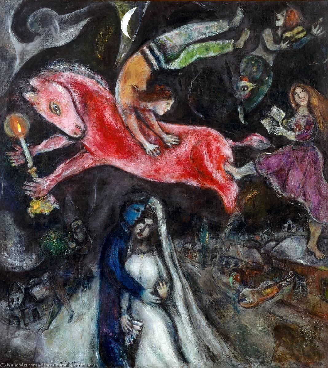 a rosso cavallo, 1938 di Marc Chagall (1887-1985, Belarus ...