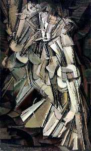 Marcel Duchamp - Nude Descending a Staircase, No.2 - (Famous paintings reproduction)