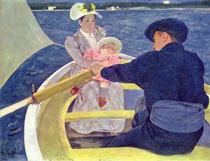 Mary Stevenson Cassatt - The Boating Party - (Famous paintings reproduction)