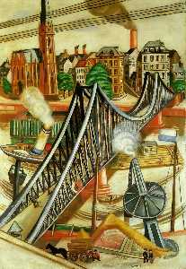 Max Beckmann - The Iron Bridge (View of Frankfurt) - (Famous paintings reproduction)