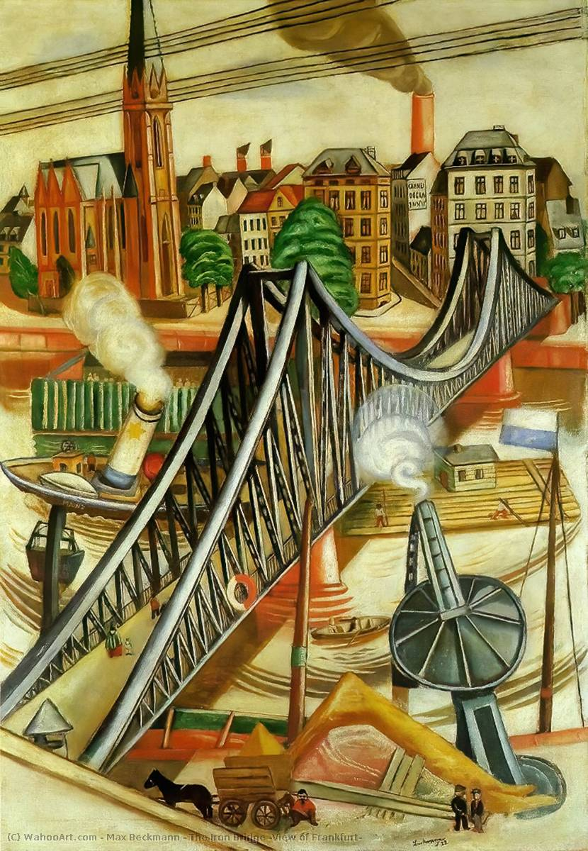 The Iron Bridge (View of Frankfurt), 1922 by Max Beckmann (1884-1950, Germany) | Painting Copy | WahooArt.com