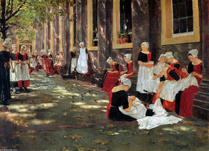 Max Liebermann - Free hour at Amsterdam orphanage - (Famous paintings reproduction)