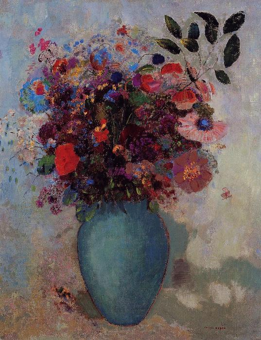 Flowers in a Turquoise Vase, 1912 by Odilon Redon (1840-1916, France) | Paintings Reproductions Odilon Redon | WahooArt.com