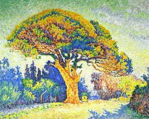 Paul Signac - The Pine Tree at St. Tropez - (Famous paintings reproduction)