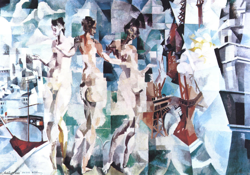 The City of Paris, 1912 by Robert Delaunay (1885-1941, France) | Paintings Reproductions Robert Delaunay | WahooArt.com