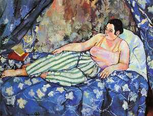 Suzanne Valadon - The Blue Room - (Famous paintings reproduction)