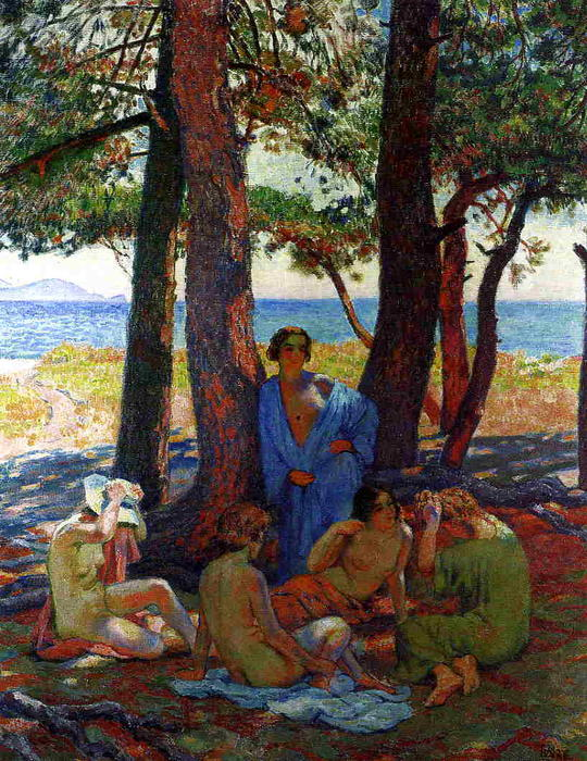 Bathers under the Pines by the Sea, 1926 by Theo Van Rysselberghe (1862-1926, Belgium) | Art Reproductions Theo Van Rysselberghe | WahooArt.com