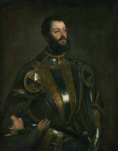 Tiziano Vecellio (Titian) - Portrait of Alfonso d`Avalos , in Armor with a Page - (Famous paintings reproduction)