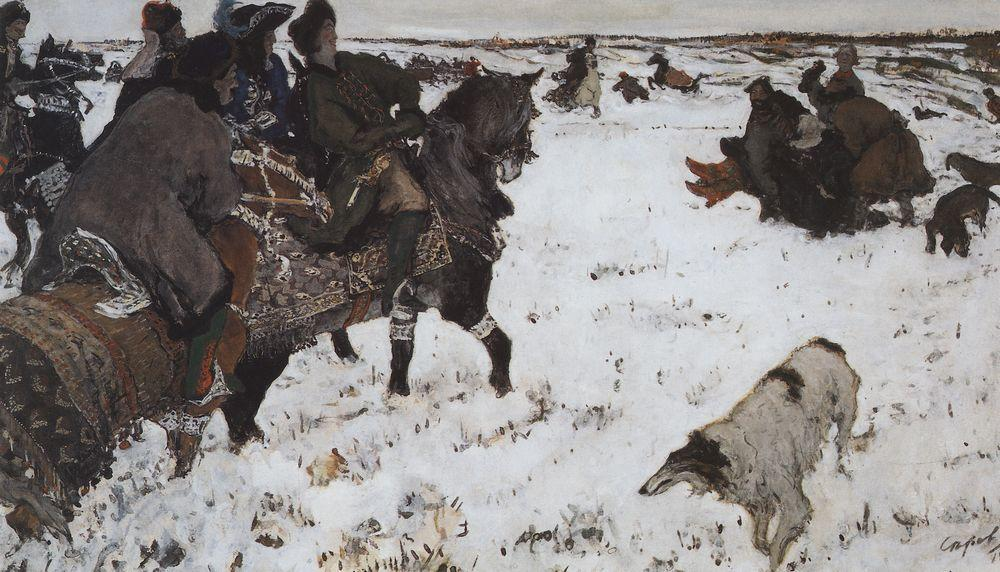 Peter I on the hunt, 1902 by Valentin Alexandrovich Serov (1865-1911, Russia) | Paintings Reproductions Valentin Alexandrovich Serov | WahooArt.com