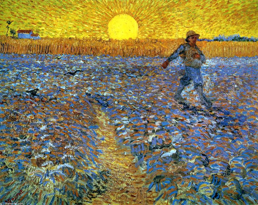 The Sower (Sower with Setting Sun), 1888 by Vincent Van Gogh (1853-1890, Netherlands) | Painting Copy | WahooArt.com