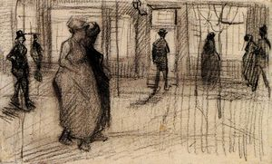 Vincent Van Gogh - People Walking on a Street in the Evening