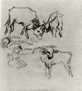 Vincent Van Gogh - Sketch of Cows and Children