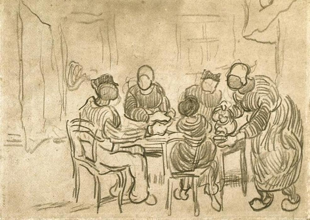 Sketch of the Painting ``The Potato Eaters``, 1890 by Vincent Van ...