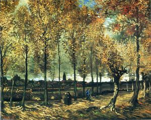 Vincent Van Gogh - Lane with poplars near Nuenen - (Famous paintings reproduction)