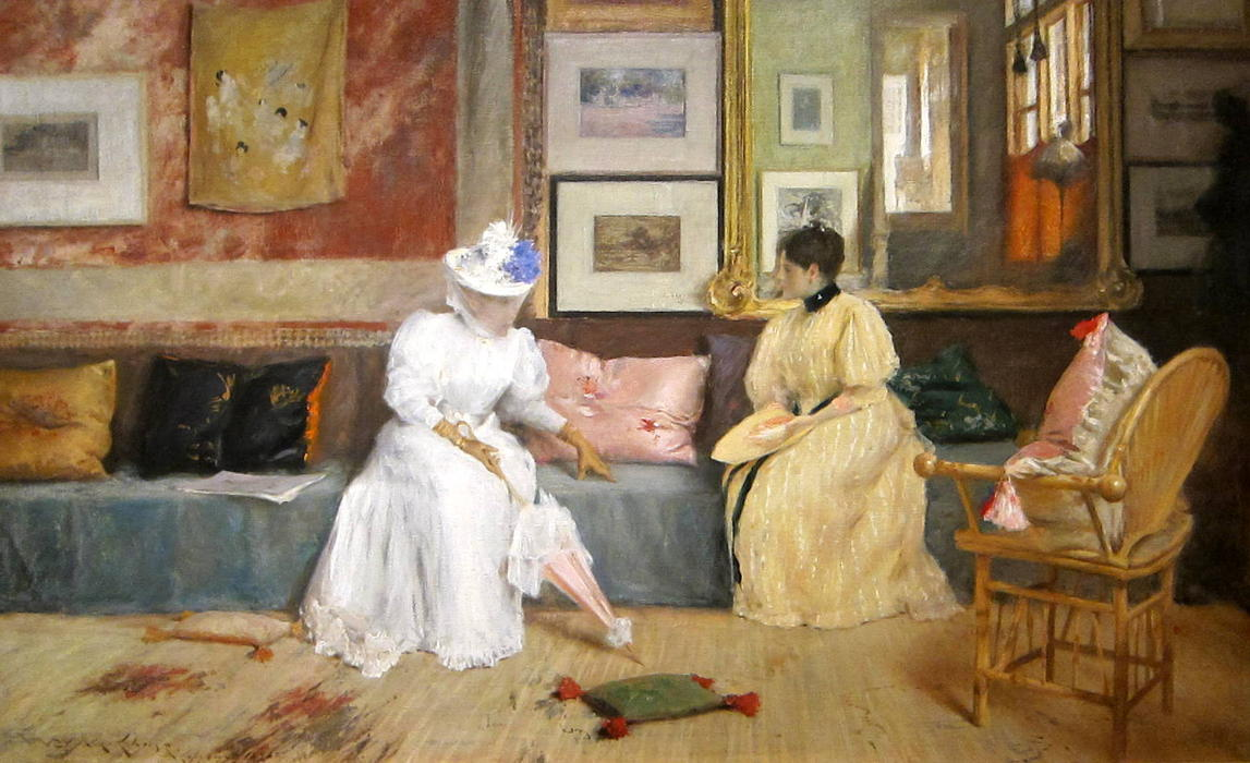 A Friendly Call, 1895 by William Merritt Chase (1849-1916, United States) | Paintings Reproductions William Merritt Chase | WahooArt.com