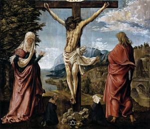 Albrecht Altdorfer - Christ on the Cross between Mary and St John
