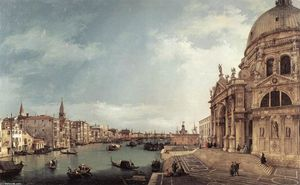 Giovanni Antonio Canal (Canaletto) - Entrance to the Grand Canal: Looking East