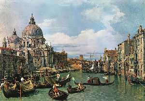 Giovanni Antonio Canal (Canaletto) - The Grand Canal and the Church of the Salute - (oil painting reproductions)