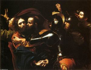 Caravaggio (Michelangelo Merisi) - Taking of Christ - (Famous paintings reproduction)