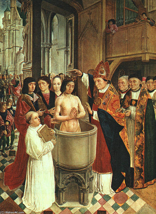 The Baptism of Clovis, 1500 by Master Of Saint Gilles | Reproductions Master Of Saint Gilles | WahooArt.com