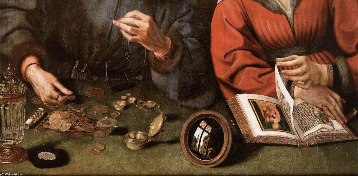 The Moneylender and his Wife (detail), 1514 by Quentin Massys (1466-1530, Belgium) | Oil Painting | WahooArt.com