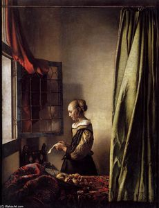 Jan Vermeer - Girl Reading a Letter at an Open Window - (Famous paintings reproduction)
