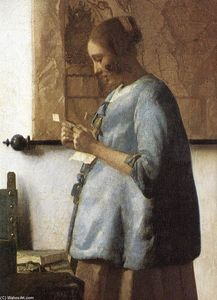 Jan Vermeer - Woman in Blue Reading a Letter (detail)