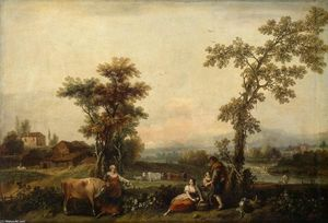 Francesco Zuccarelli - Landscape with a Woman Leading a Cow
