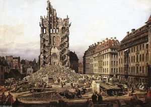 Bernardo Bellotto - The Ruins of the Old Kreuzkirche in Dresden - (oil painting reproductions)