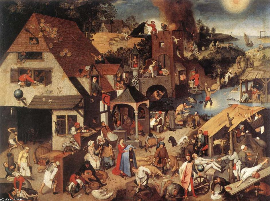 Netherlandish Proverbs, 1559 by Pieter Bruegel The Younger (1525-1569, Belgium) | Museum Art Reproductions Pieter Bruegel The Younger | WahooArt.com