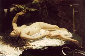 Gustave Courbet - Woman with a Parrot - (oil painting reproductions)