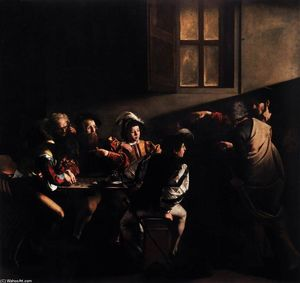 Caravaggio (Michelangelo Merisi) - The Calling of Saint Matthew - (Famous paintings reproduction)