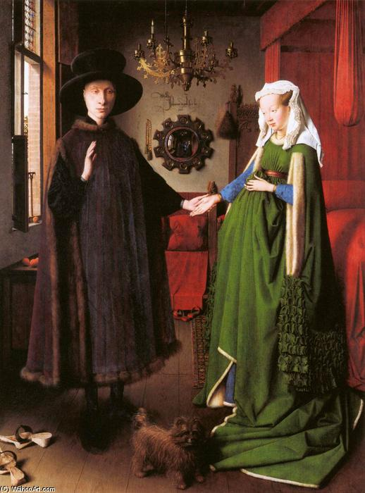 Portrait of Giovanni Arnolfini and his Wife, 1434 by Jan Van Eyck (1390-1441, Netherlands) | Paintings Reproductions Jan Van Eyck | WahooArt.com