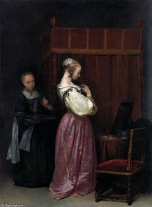 Gerard Ter Borch - Young Woman at Her Toilet with a Maid