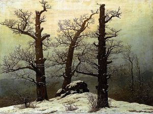Caspar David Friedrich - Dolmen in the Snow - (paintings reproductions)