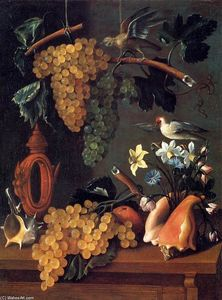 Juan Bautista De Espinosa - Still-Life with Grapes, Flowers and Shells