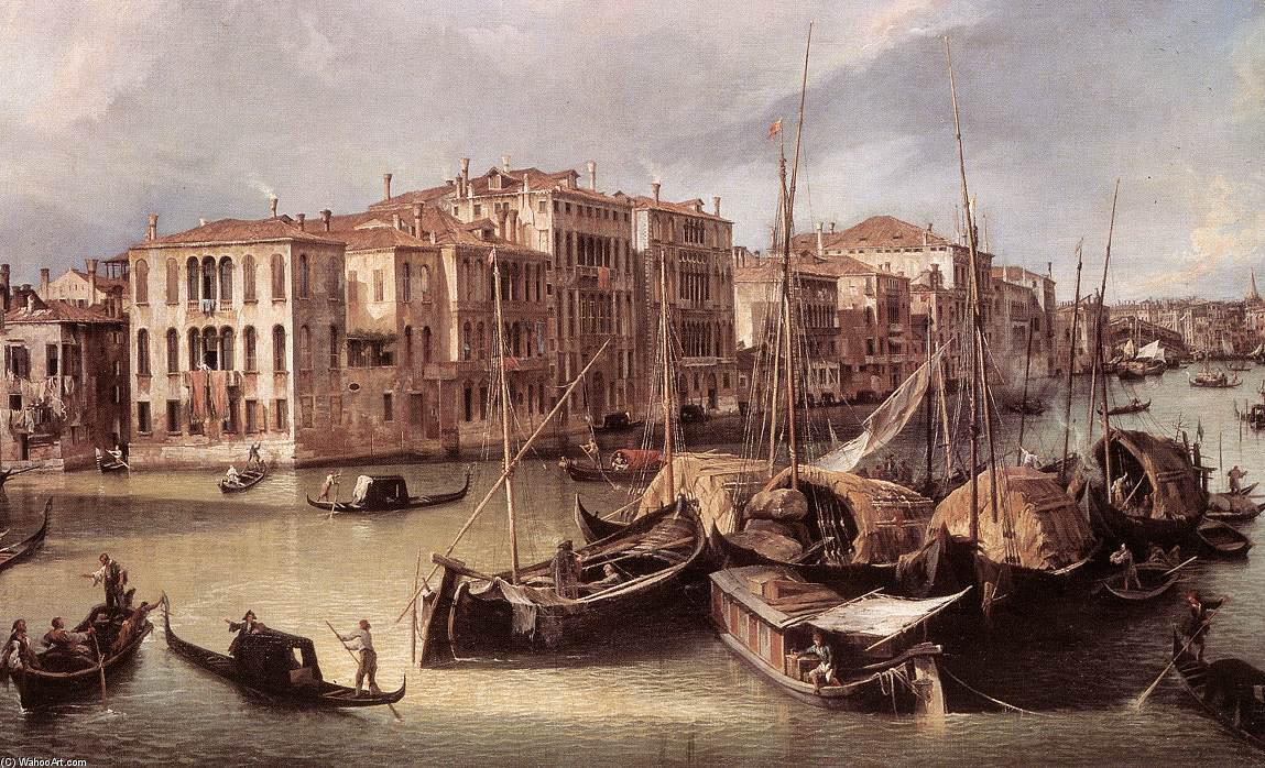 Grand Canal: Looking North-East toward the Rialto Bridge (detail), 1725 by Giovanni Antonio Canal (Canaletto) (1730-1768, Italy) | Art Reproductions Giovanni Antonio Canal (Canaletto) | WahooArt.com