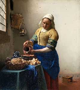 Jan Vermeer - The Milkmaid - (Famous paintings reproduction)