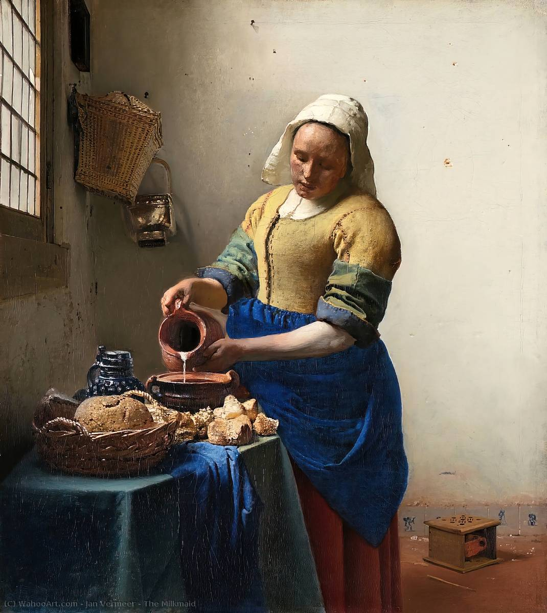 The Milkmaid, 1658 by Jan Vermeer (1632-1675, Netherlands) | Art Reproductions Jan Vermeer | WahooArt.com