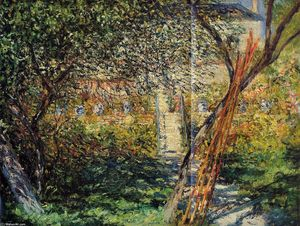 Claude Monet - Monet's Garden at Vetheuil - (paintings reproductions)