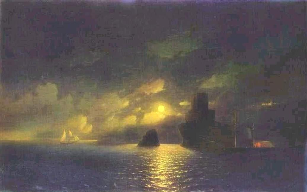 Ivan Aivazovsky A MOONLIT NIGHT AT SEA Giclee Canvas Print
