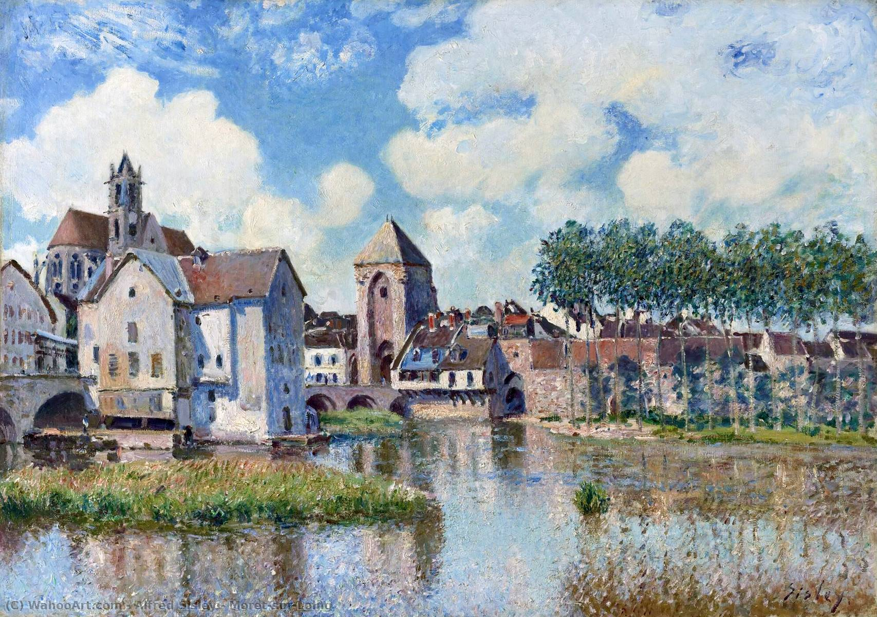 Moret-sur-Loing, 1888 by Alfred Sisley (1839-1899, France) | Art Reproductions Alfred Sisley | WahooArt.com