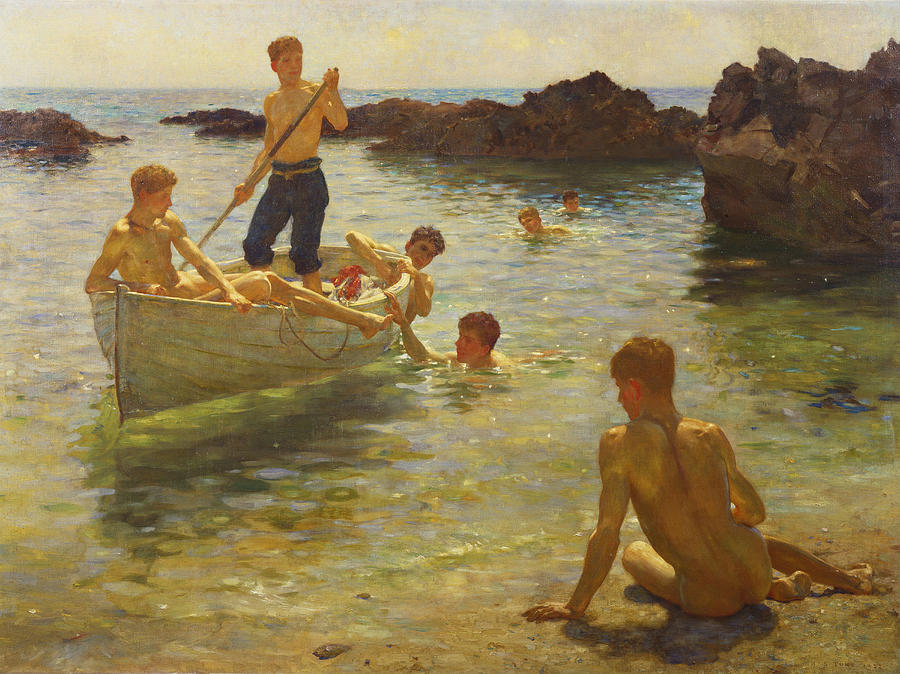 The Critics by Henry Scott Tuke Giclee Canvas Print Repro