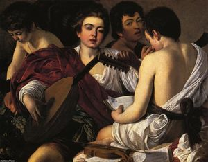 Caravaggio (Michelangelo Merisi) - The Musicians - (Famous paintings reproduction)